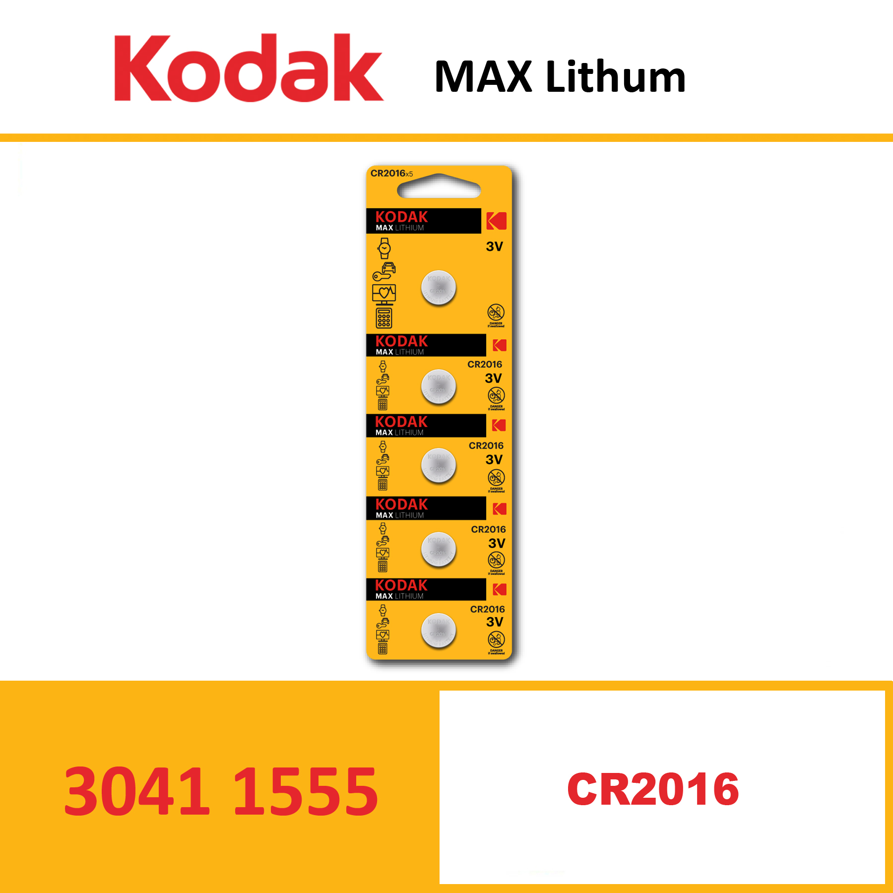 KODAK KCR2016 MAX Lithium coin cell Pack of 5 Piece