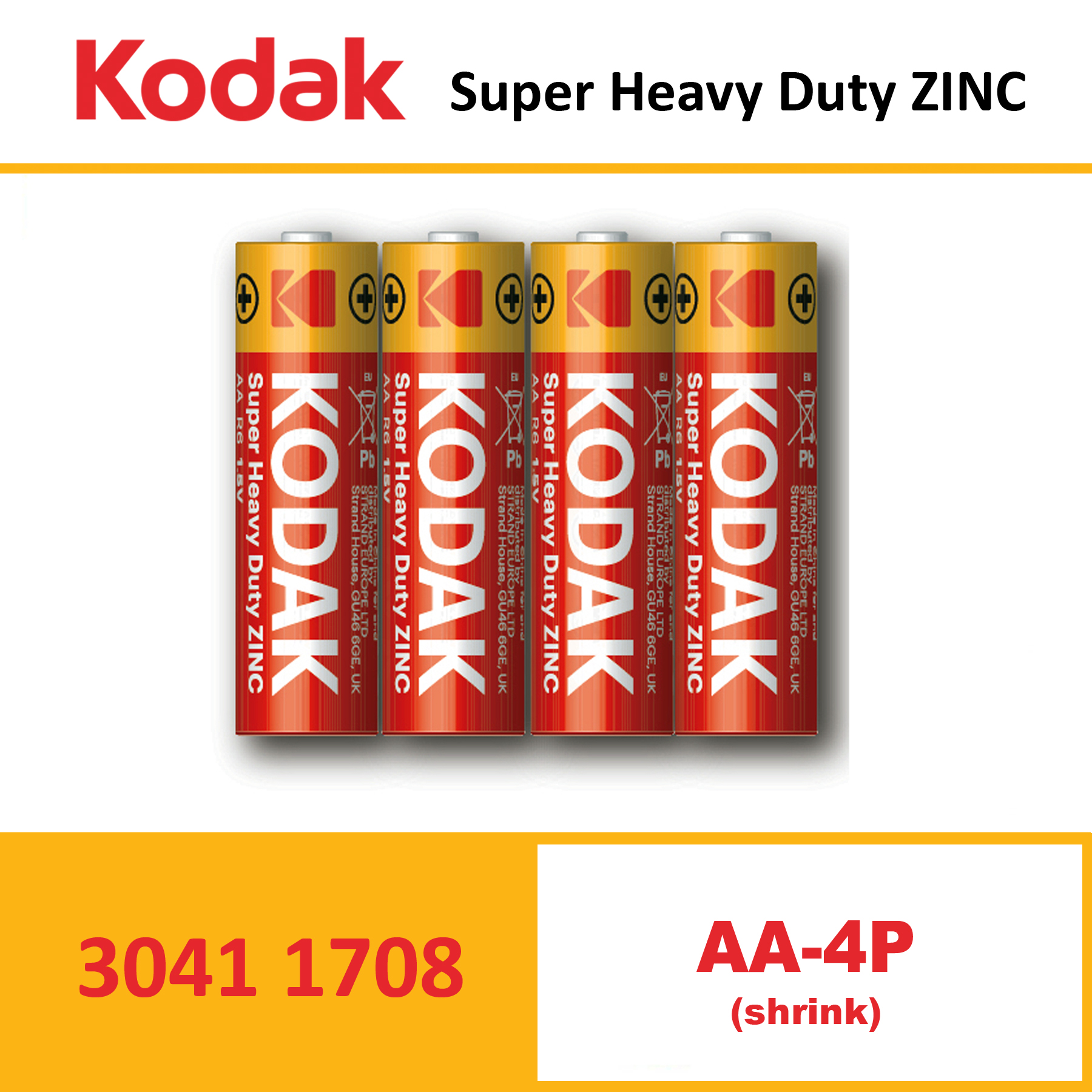 KODAK Super Heavy Duty Zinc Battery KAAHZ – SHRINK