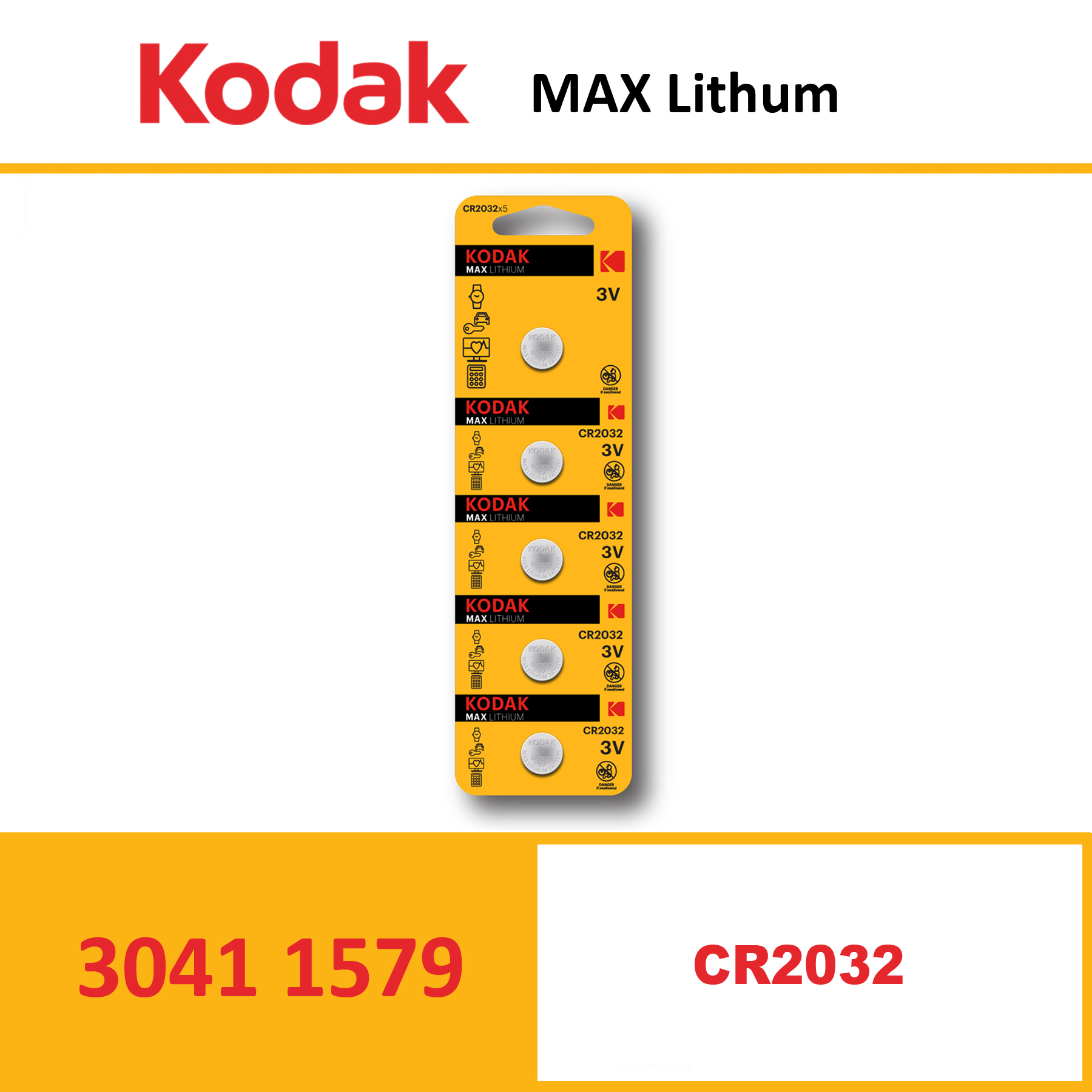 KODAK KCR2032 MAX Lithium coin cell Pack of 5 Piece