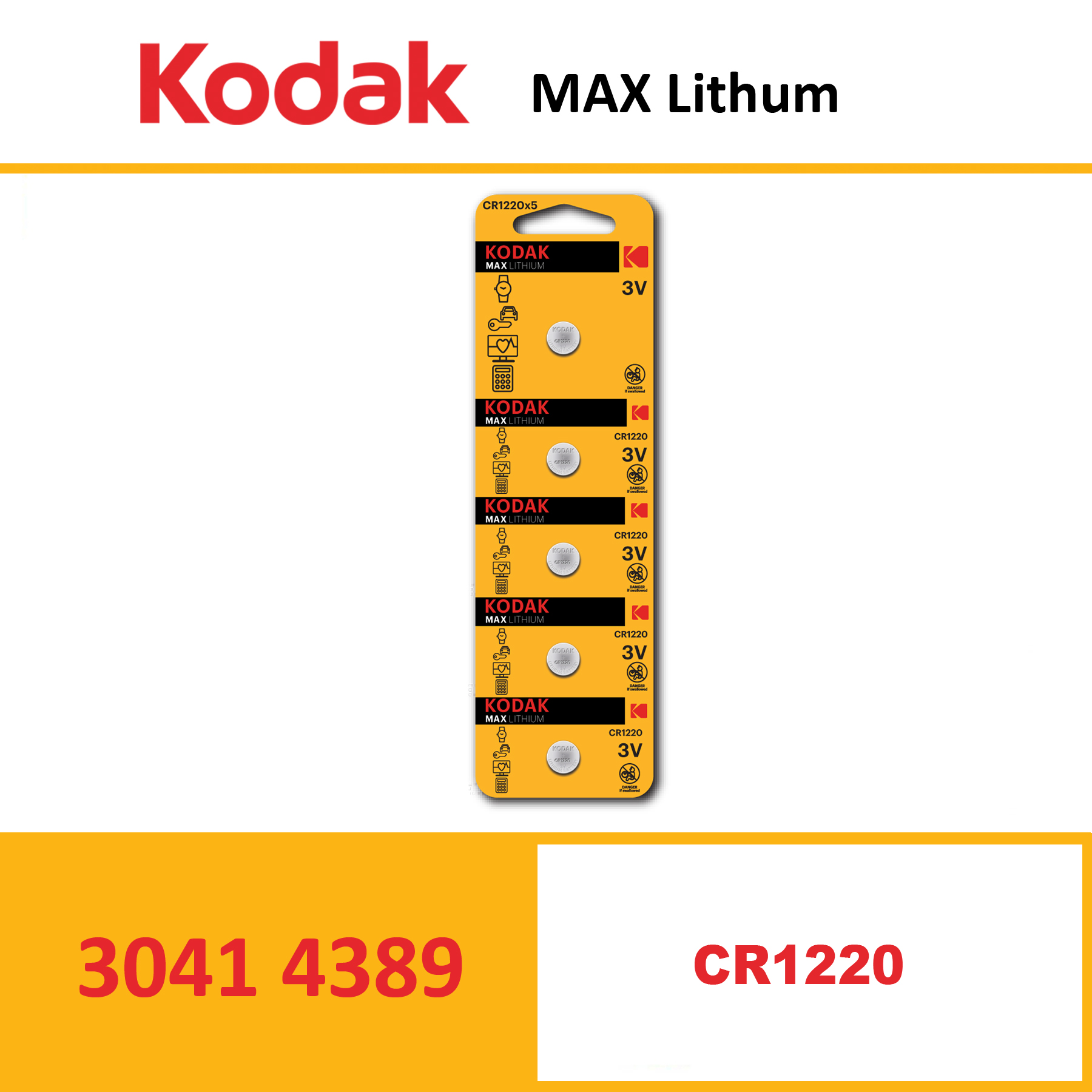 KODAK KCR1220 MAX Lithium coin cell Pack of 5 Piece