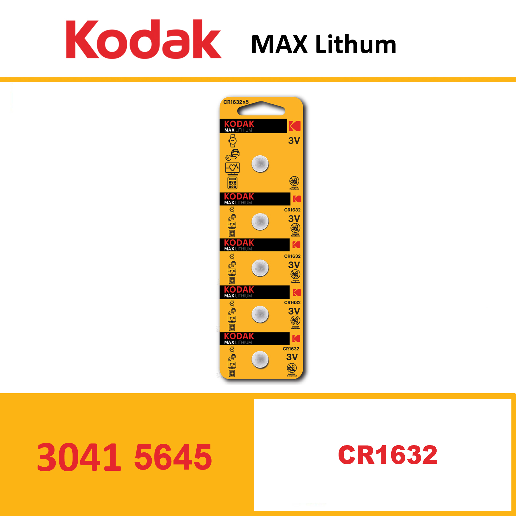 KODAK KCR1632 MAX Lithium coin cell Pack of 5 Piece