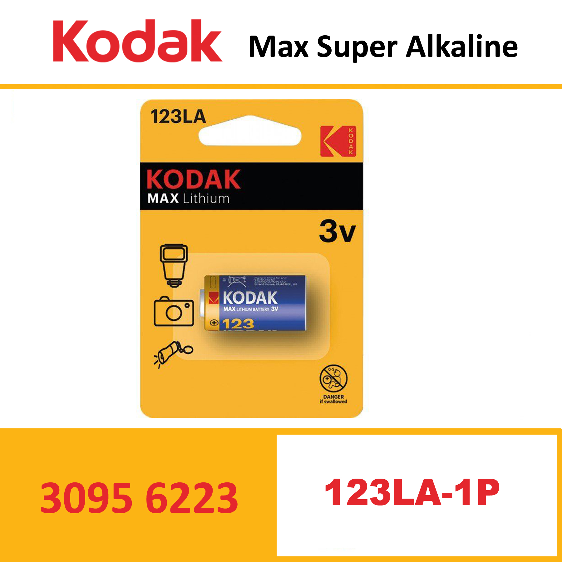 KODAK K123LA MAX Lithium battery