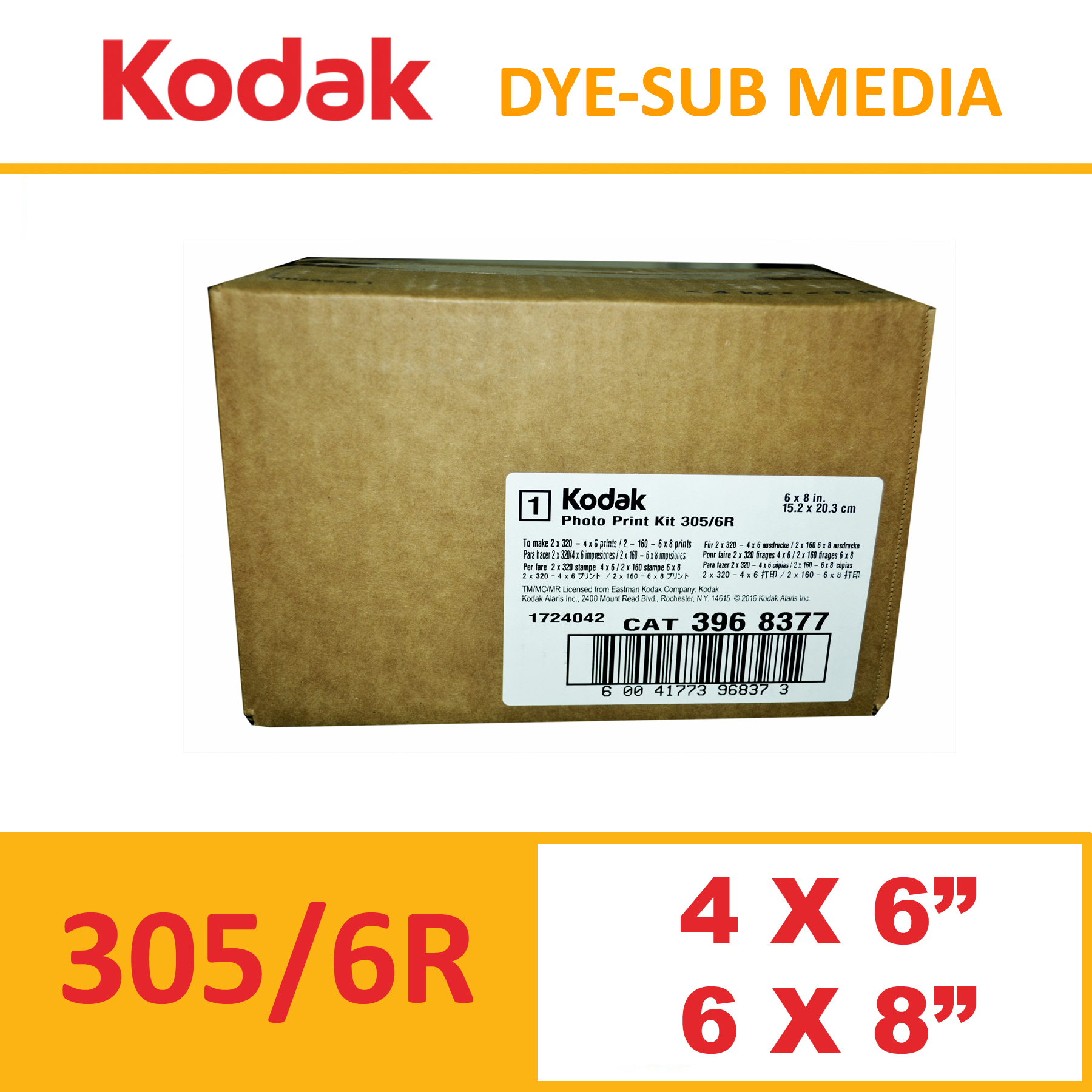 Kodak 305 Dye-Sub Photo Printer Media Kit