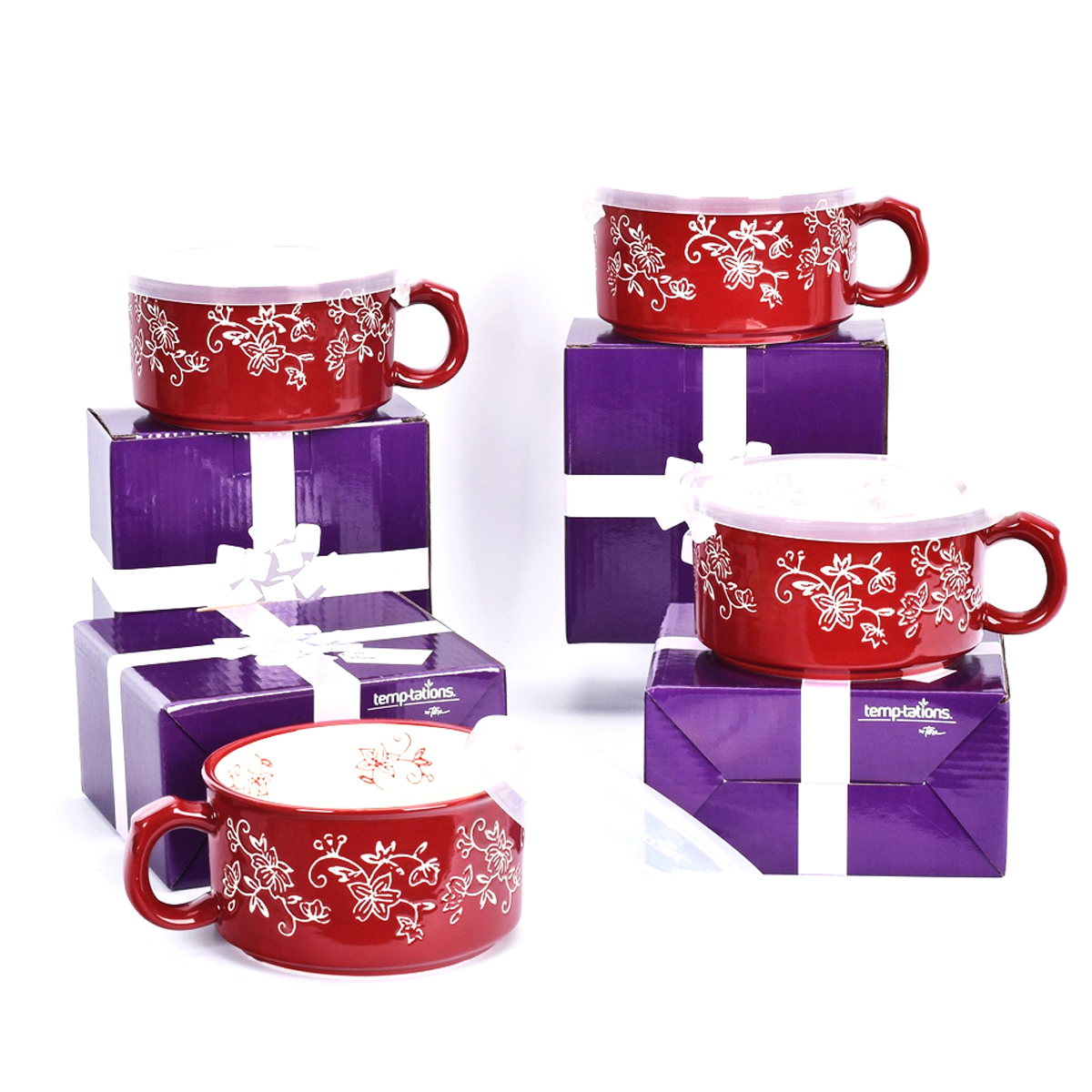 temp-tations® Floral Lace Meal Mugs with Gift Boxes Set – 4 Piece – Cranberry
