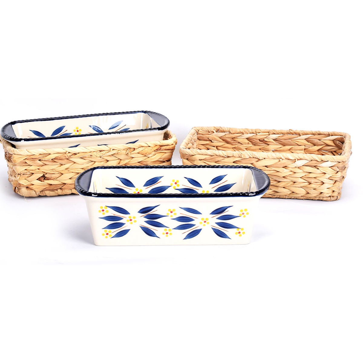 temp-tations® Old World Loaf Pans in Baskets – 4 Piece – Blue