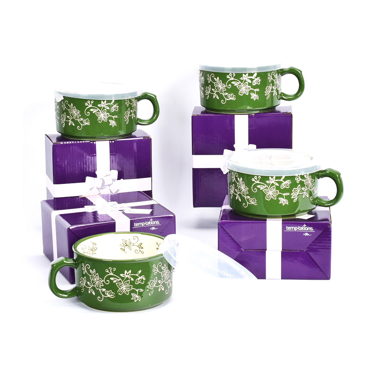 temp-tations® Floral Lace Meal Mugs with Gift Boxes Set – 4 Piece – Green