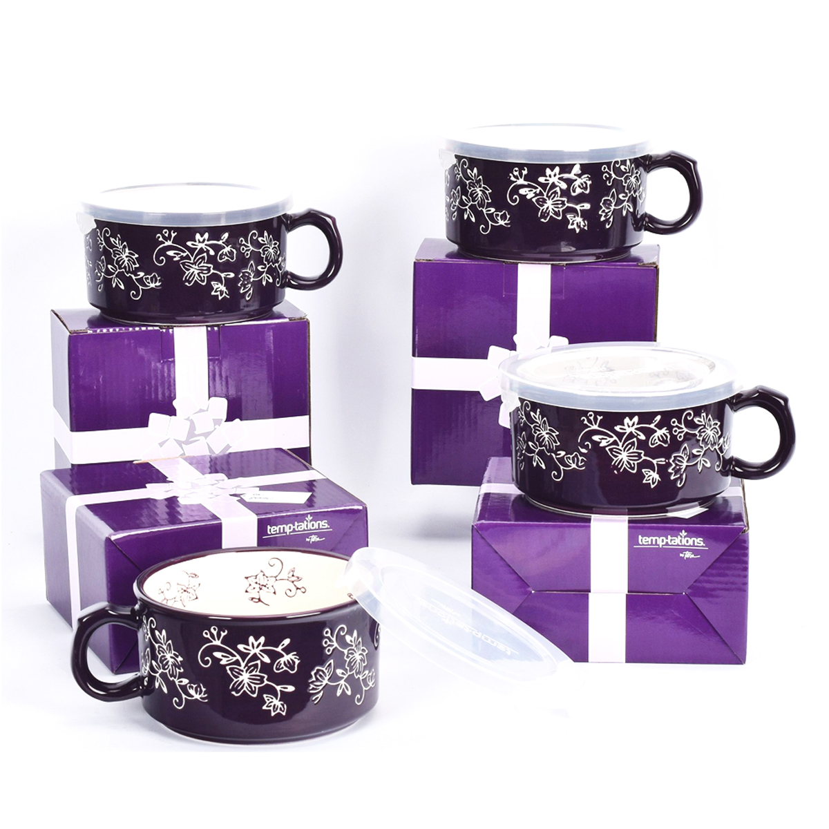 temp-tations® Floral Lace Meal Mugs with Gift Boxes Set – 4 Piece – Eggplant