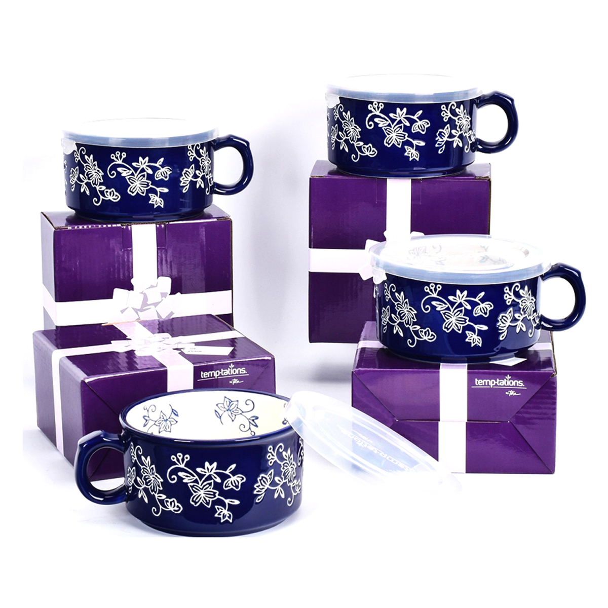 temp-tations® Floral Lace Meal Mugs with Gift Boxes Set – 4 Piece – Blue