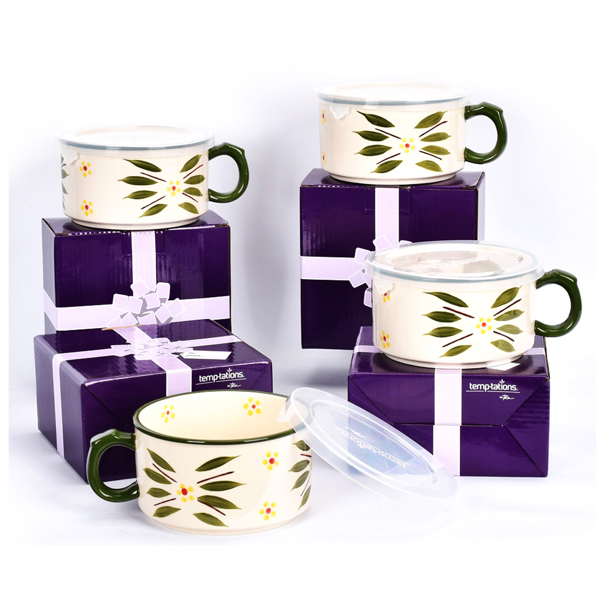 temp-tations® Old World Meal Mugs with Gift Boxes Set – 4 Piece – Green