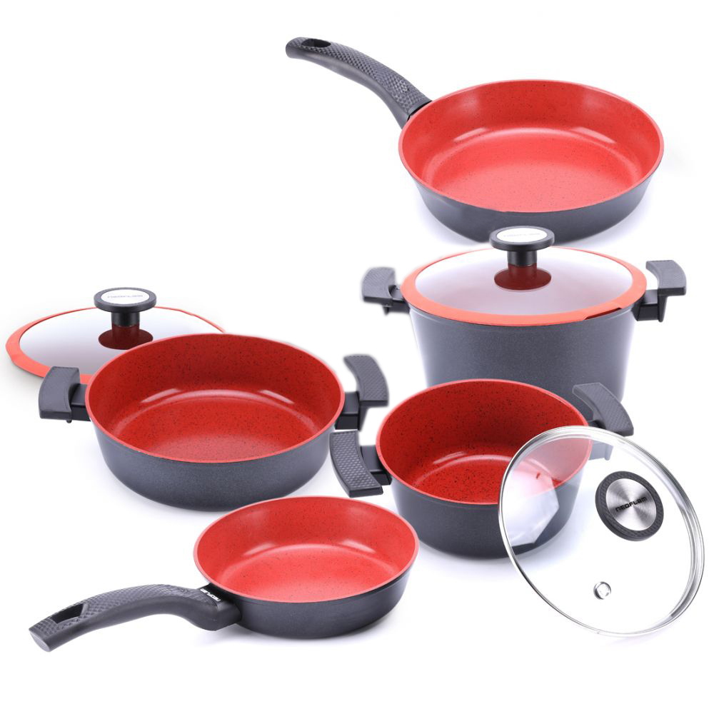 Neoflam DeChef Cookware Set – 8 Piece – Black/Red