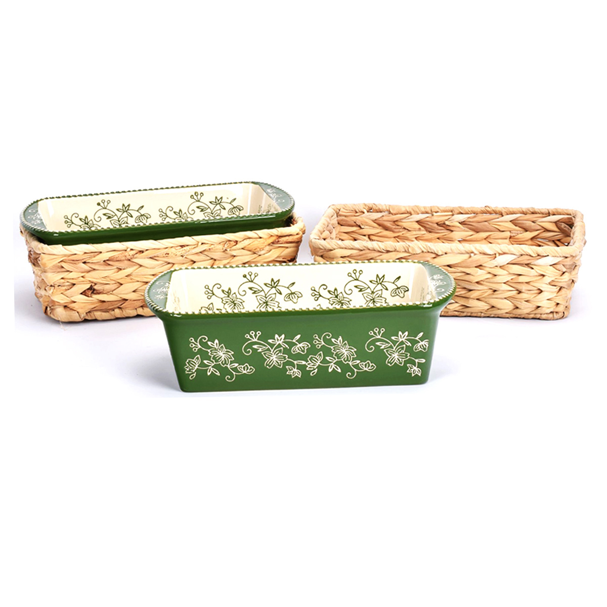 temp-tations® Floral Lace Loaf Pans in Baskets – 4 Piece – Green