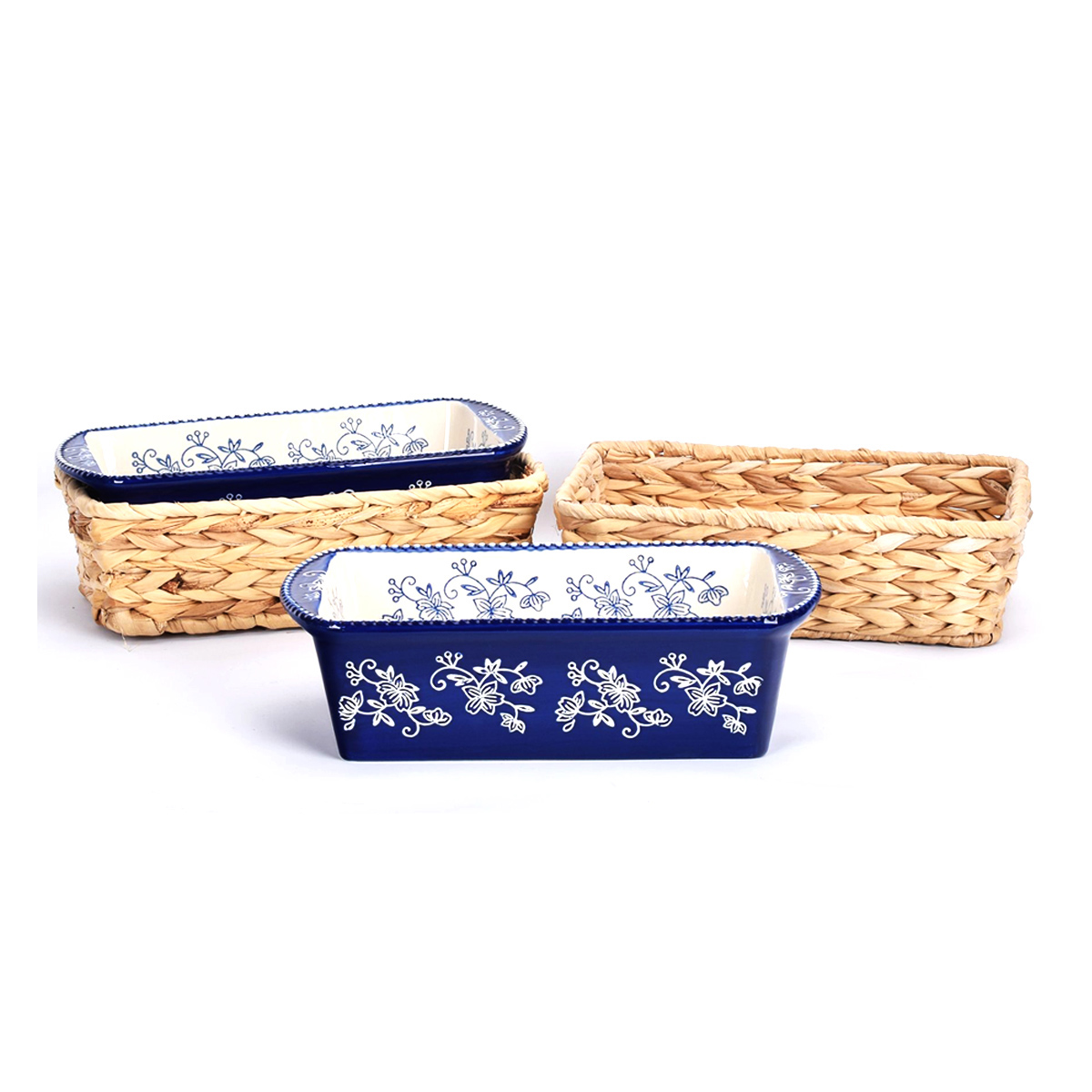 temp-tations® Floral Lace Loaf Pans in Baskets – 4 Piece – Blue