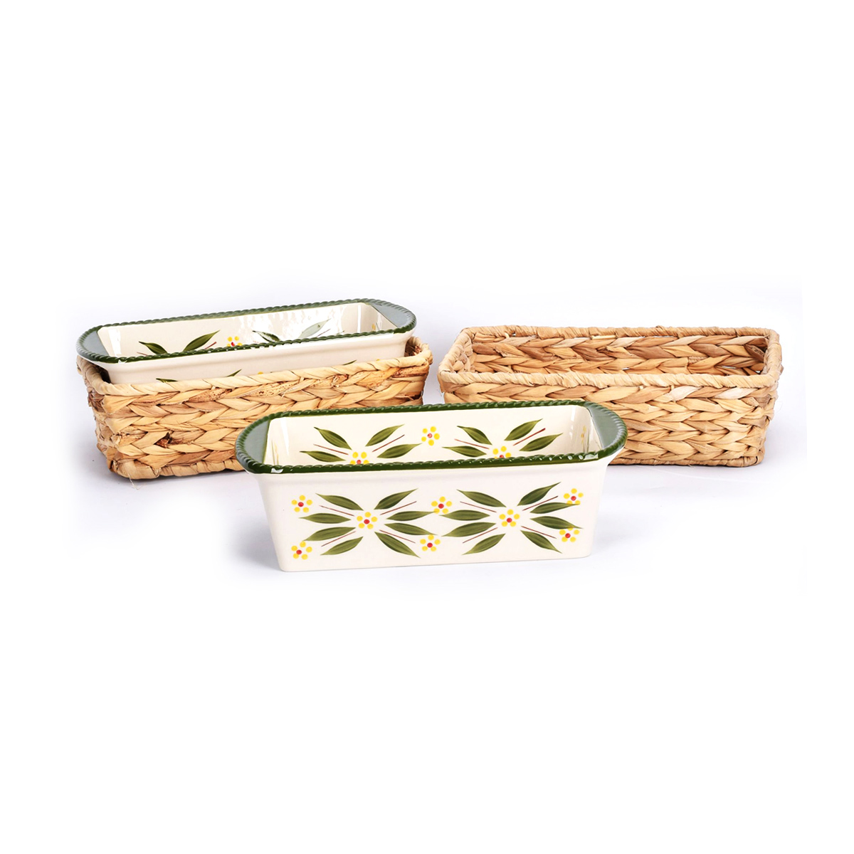 temp-tations® Old World Loaf Pans in Baskets – 4 Piece – Green