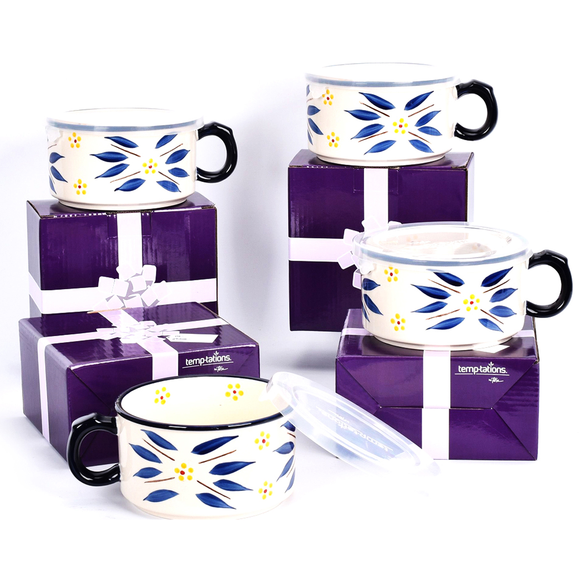 temp-tations® Old World Meal Mugs with Gift Boxes Set – 4 Piece – Blue