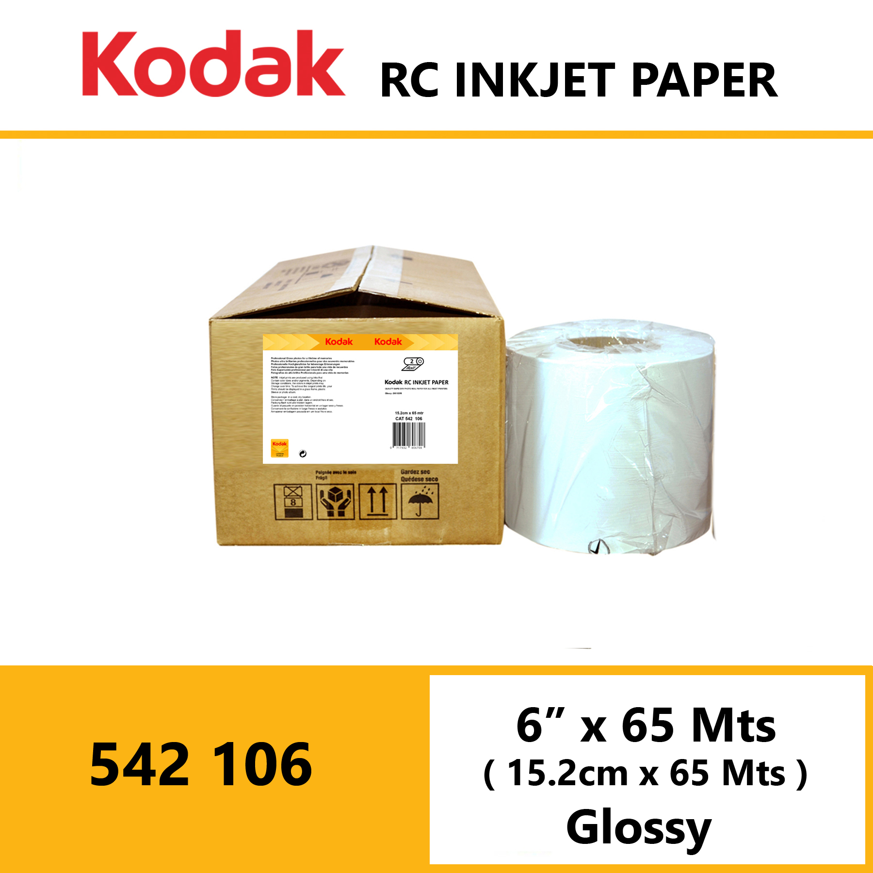 "Kodak Inkjet RC Paper 6 "" x 65 Mtrs Glossy"