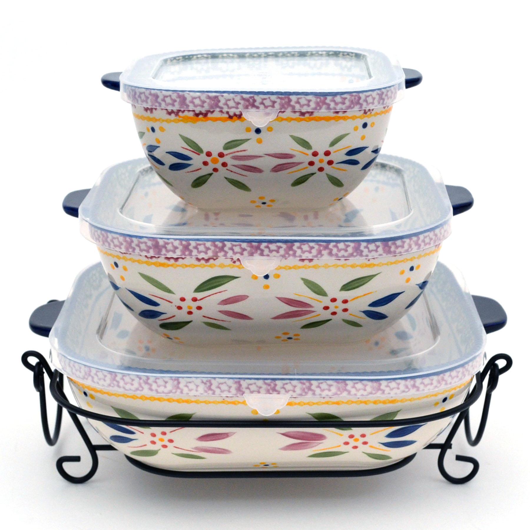 temp-tations® Old World Nested Square Bakerware Set – 3 Piece – Confetti