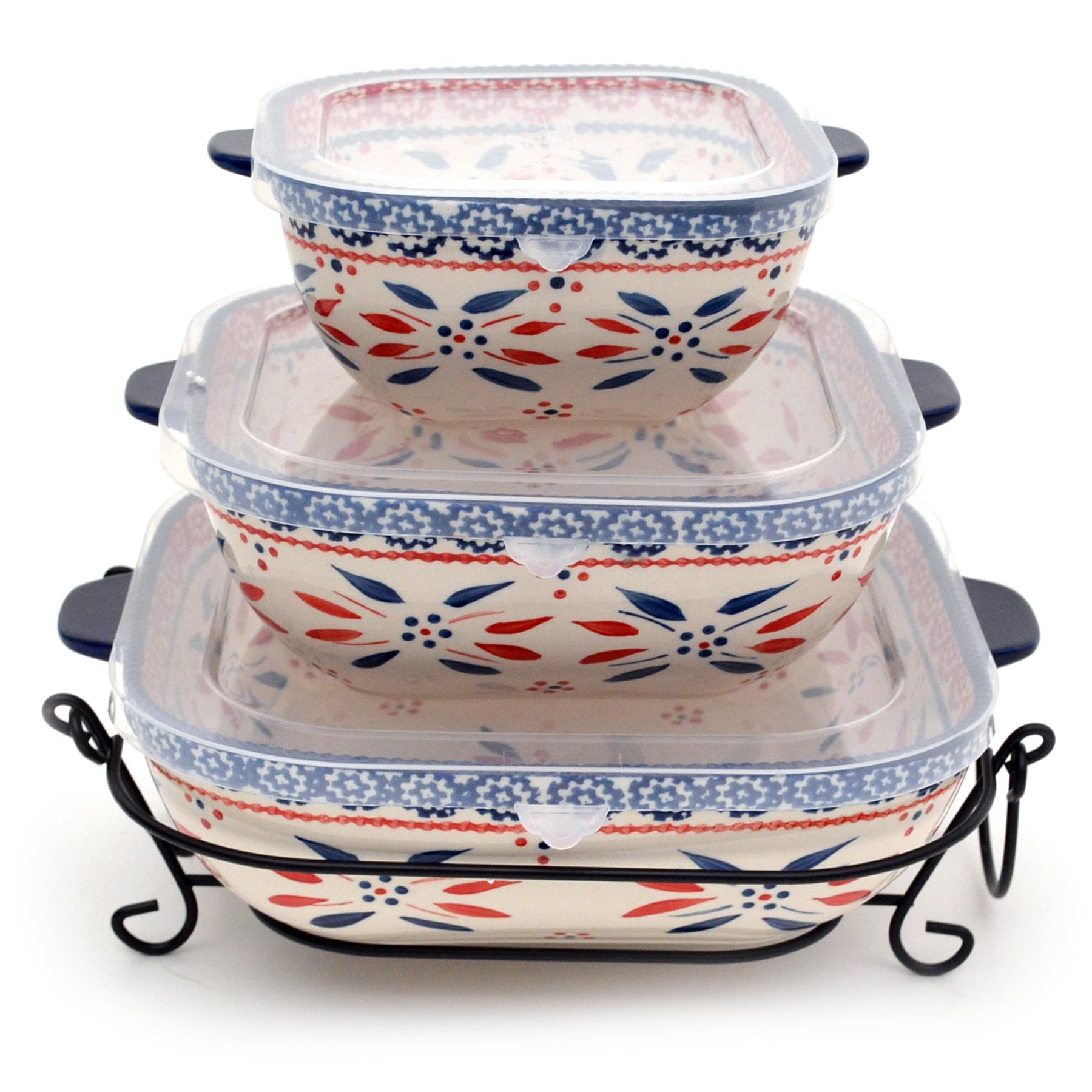temp-tations® Old World Nested Square Bakerware Set – 3 Piece – Fireworkfetti