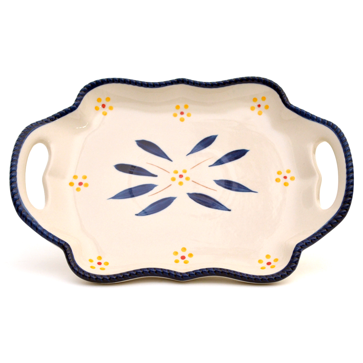 temp-tations® Old World 10-inch Platter with Gift Box – Square – Blue