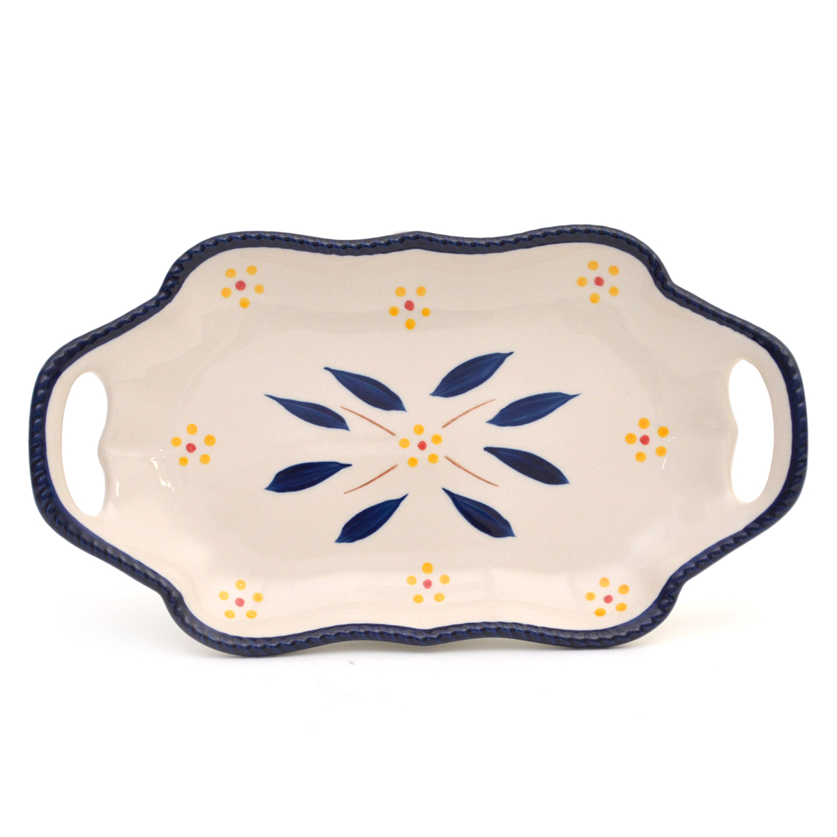 temp-tations® Old World 10-inch Platter with Gift Box – Rectangle – Blue