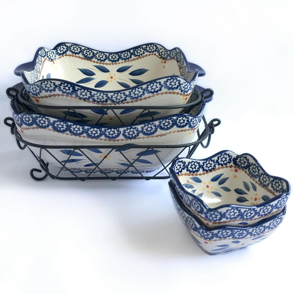 temp-tations® Old World Bakeware Set – 6 Piece – Blue