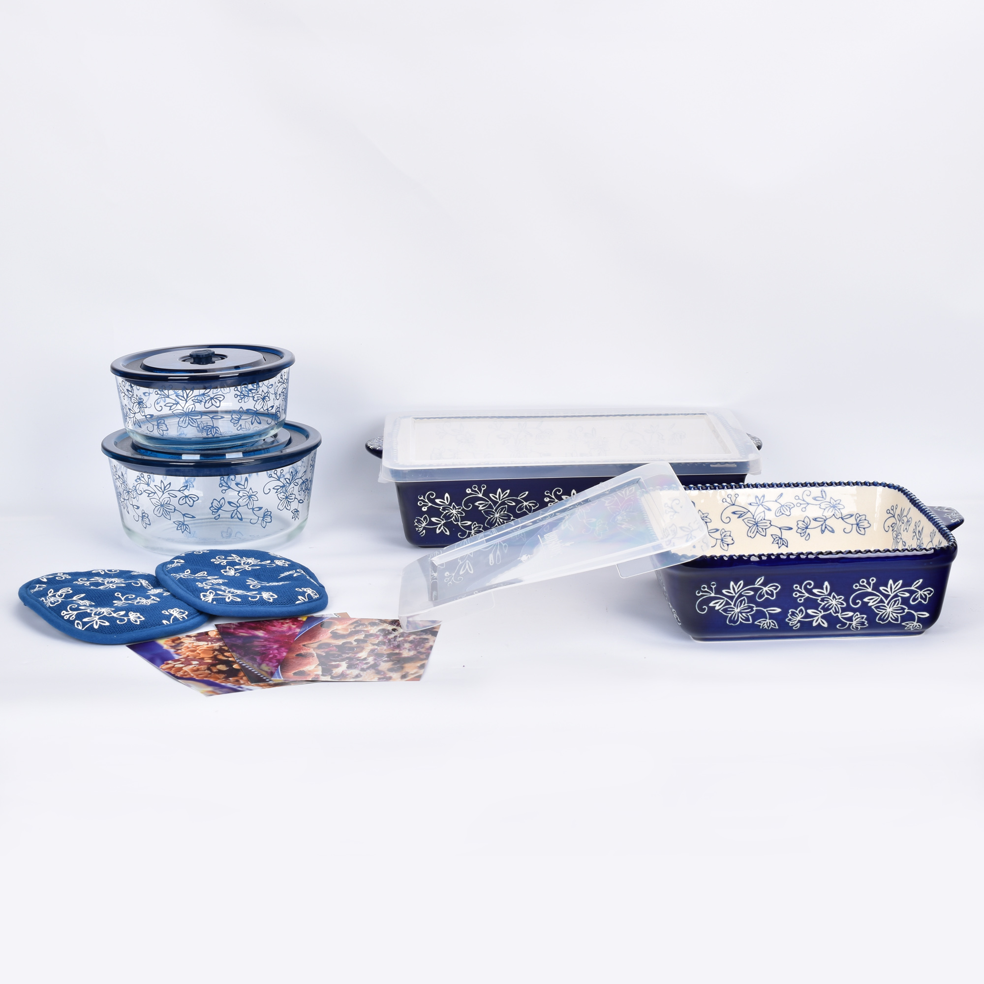 temp-tations® Floral Lace All-In-One Bakers Bundle – 7 Piece – Blue