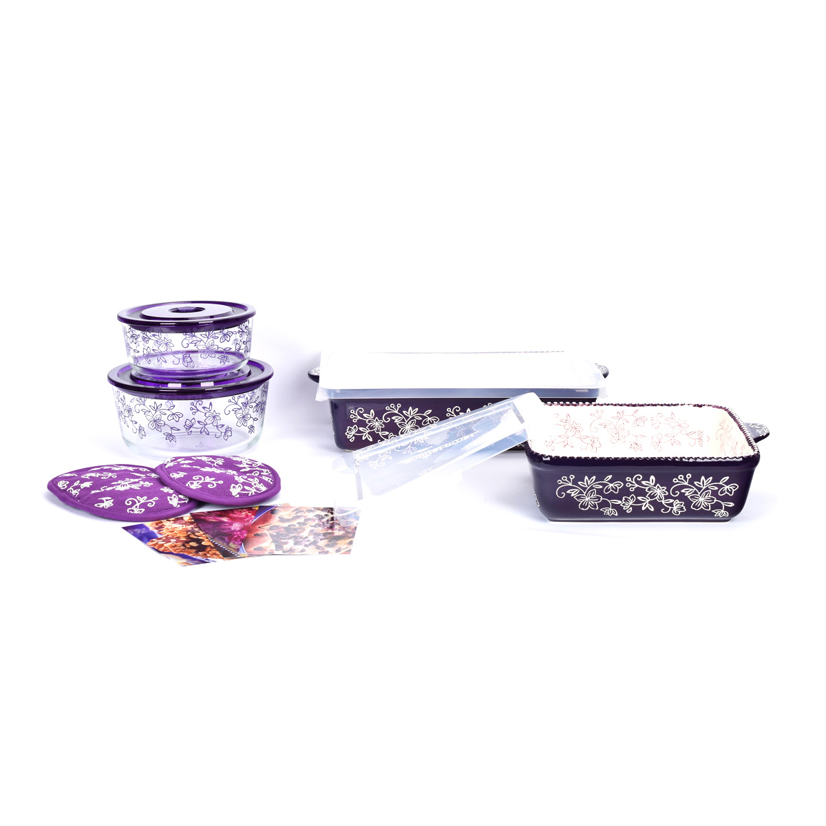 temp-tations® Floral Lace All-In-One Bakers Bundle – 7 Piece – Eggplant
