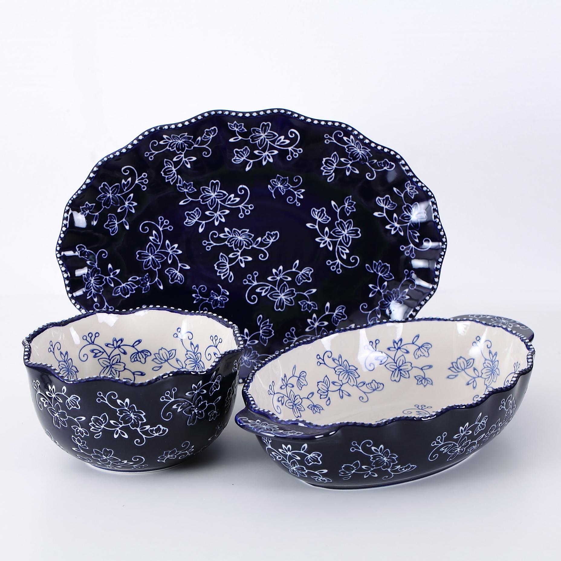 temp-tations® Floral Lace Side Series Set – 3 Piece – Blue