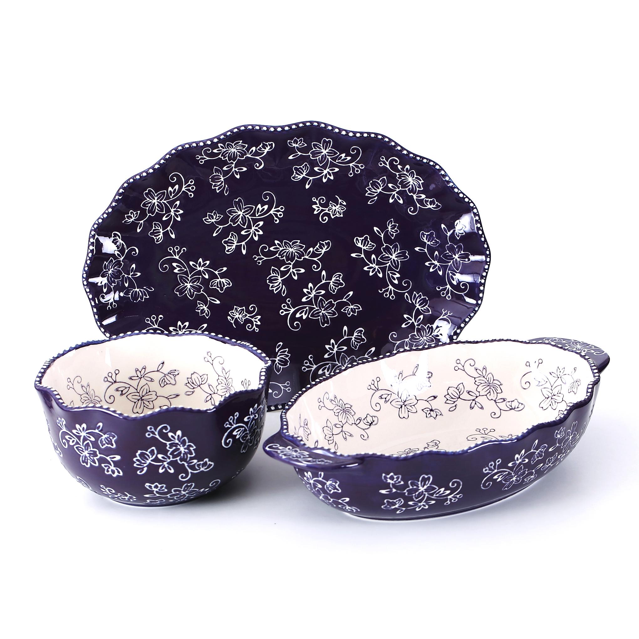 temp-tations® Floral Lace Side Series Set – 3 Piece – Egg Plant