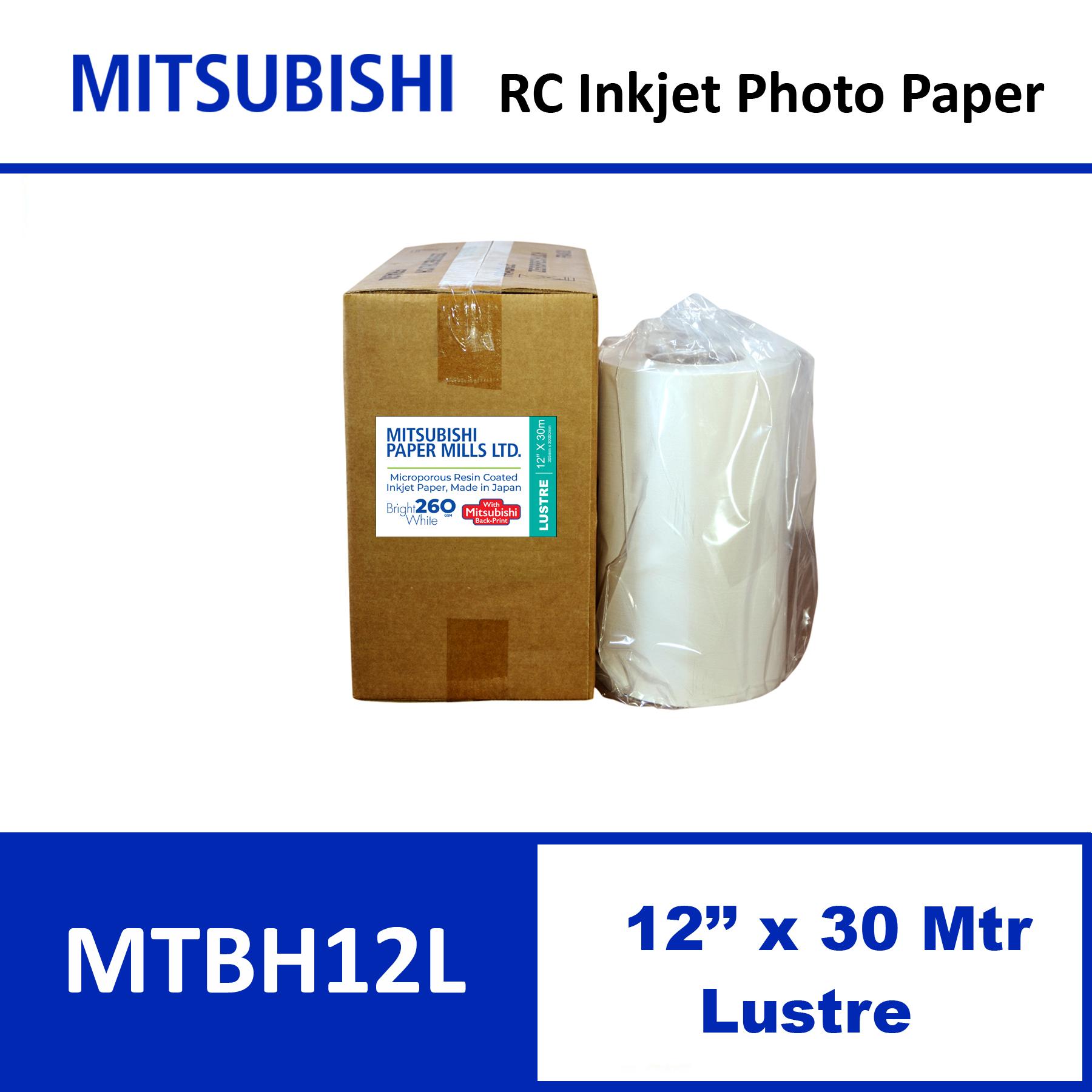 """Mitsubishi Inkjet RC Paper 12"""" x 30 Mtrs Lustre"""