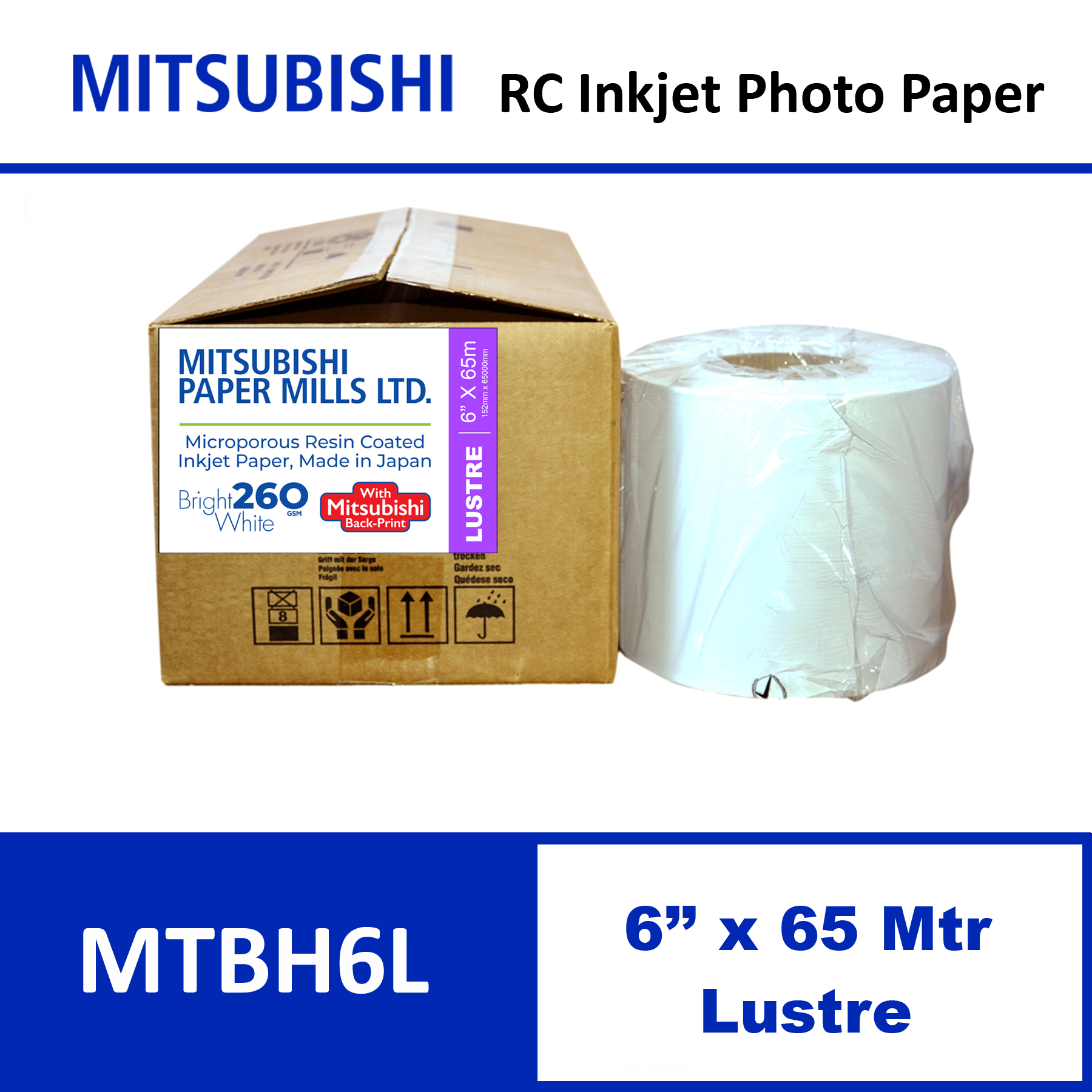 """Mitsubishi Inkjet RC Paper 6"""" x 65 Mtrs Lustre"""