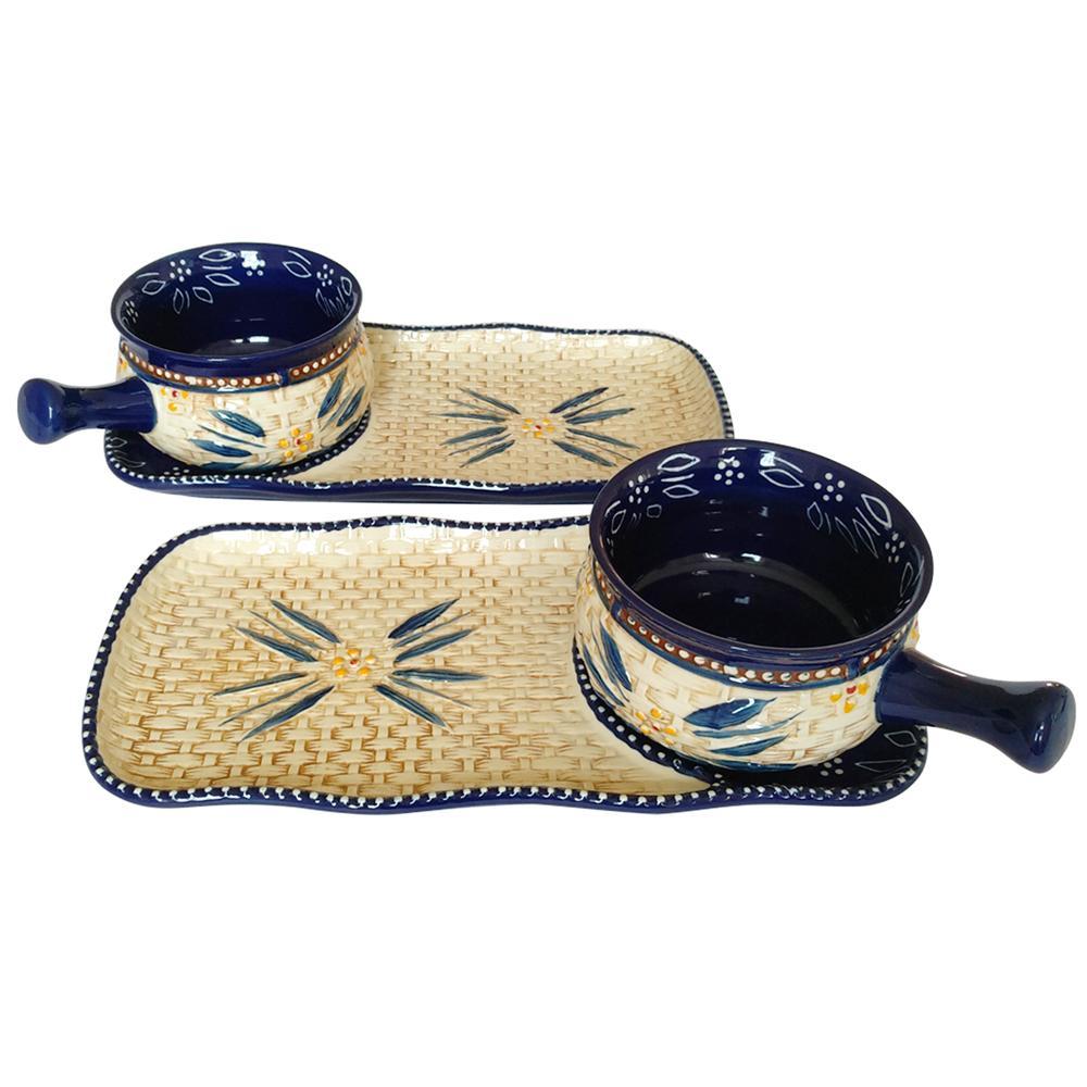 temp-tations® Old World Basketweave Bowl & Appetizer Plate Set – 4 Piece – Blue