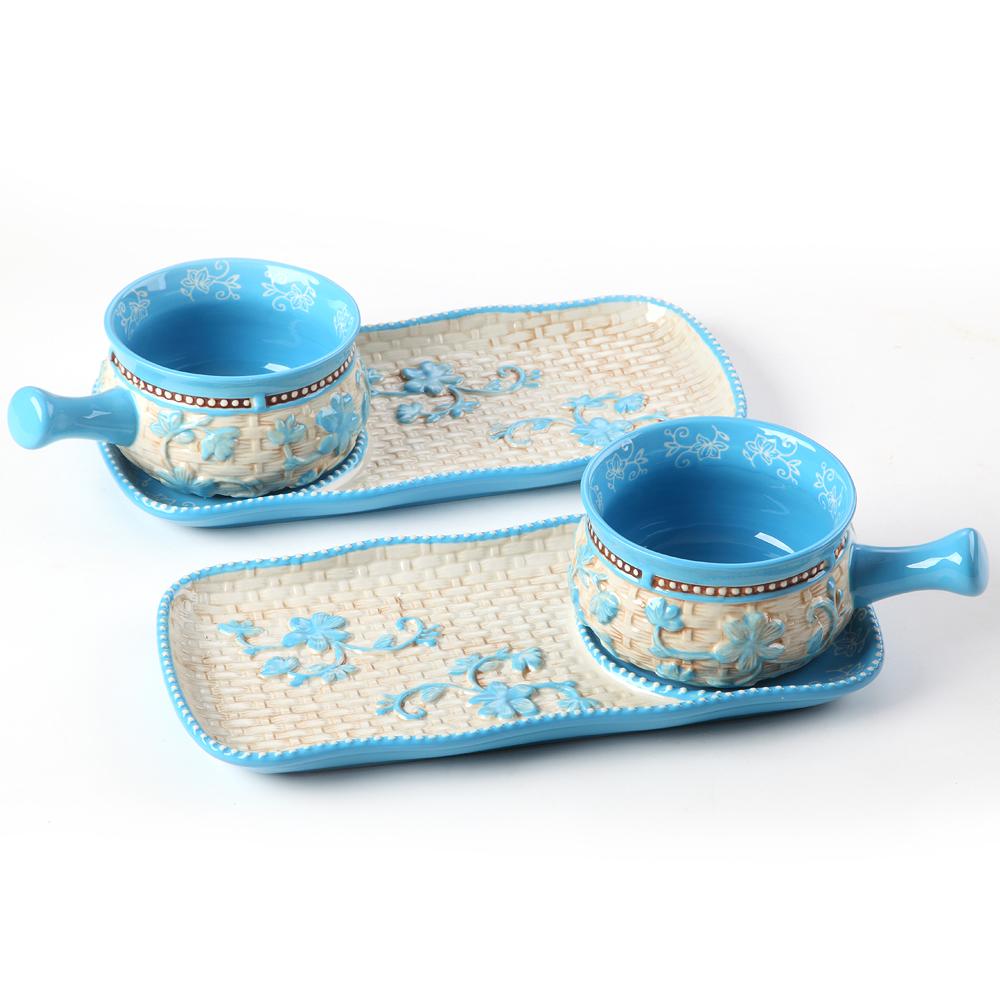 temp-tations® Floral Lace Basketweave Bowl & Appetizer Plate Set – 4 Piece – Light Blue