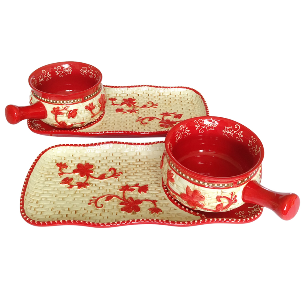 temp-tations® Floral Lace Basketweave Bowl & Appetizer Plate Set – 4 Piece – Red