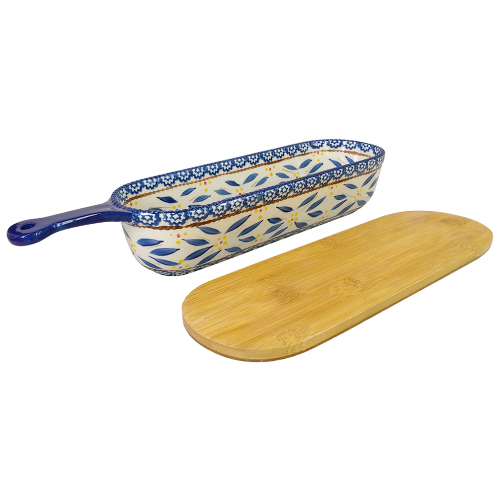 temp-tations® Old World Baker & Server with Bamboo Lid – 2 Piece – Blue