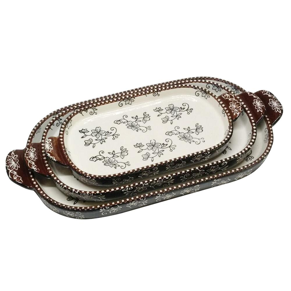 temp-tations® Floral Lace Squoval Tray Set – 3 Piece – Black