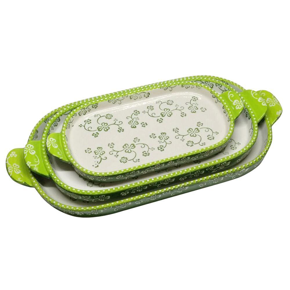temp-tations® Floral Lace Squoval Tray Set – 3 Piece – Shamrock