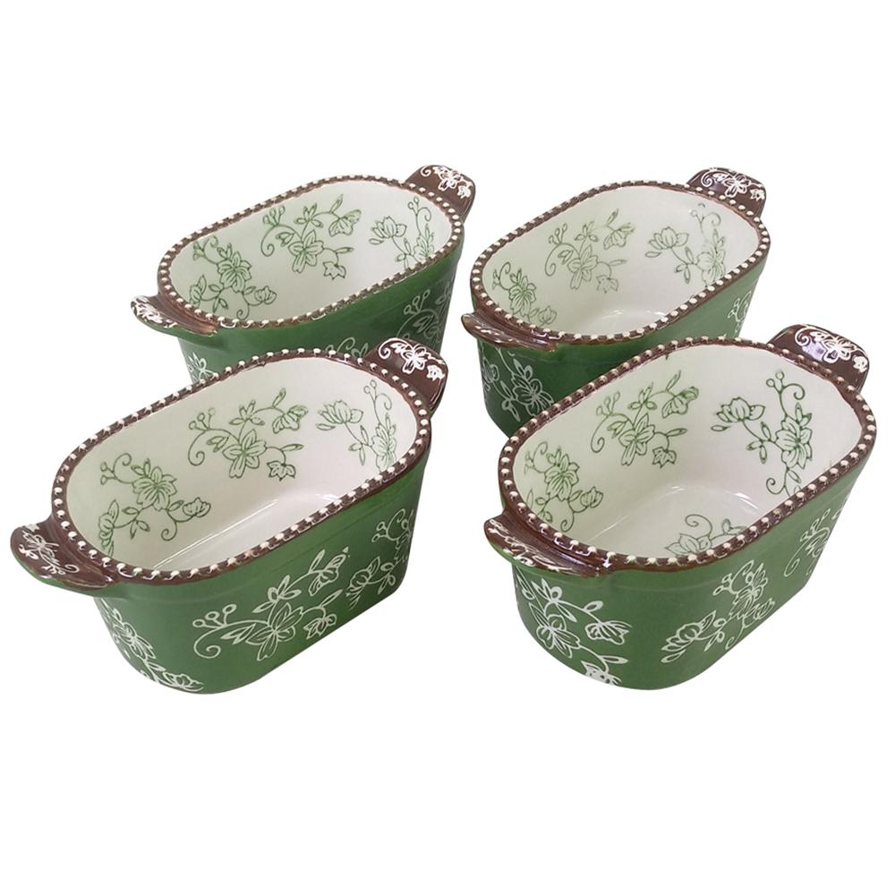 temp-tations® Floral Lace Squoval Ramekins Set – 4 Piece – Green
