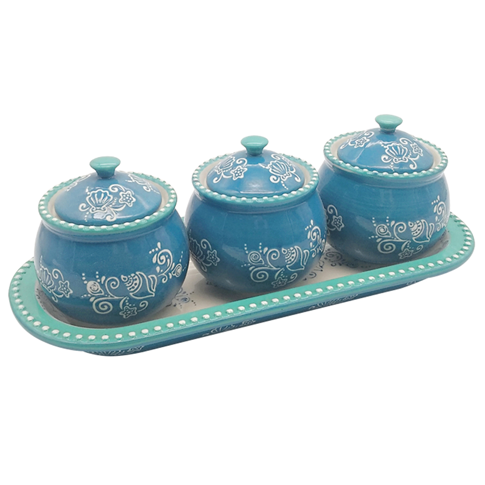 temp-tations® Floral Lace Mini Ramekins with Lid and Tray – 4 Piece – Summer