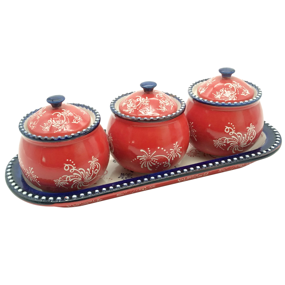 temp-tations® Floral Lace Mini Ramekins with Lid and Tray – 4 Piece – Firework