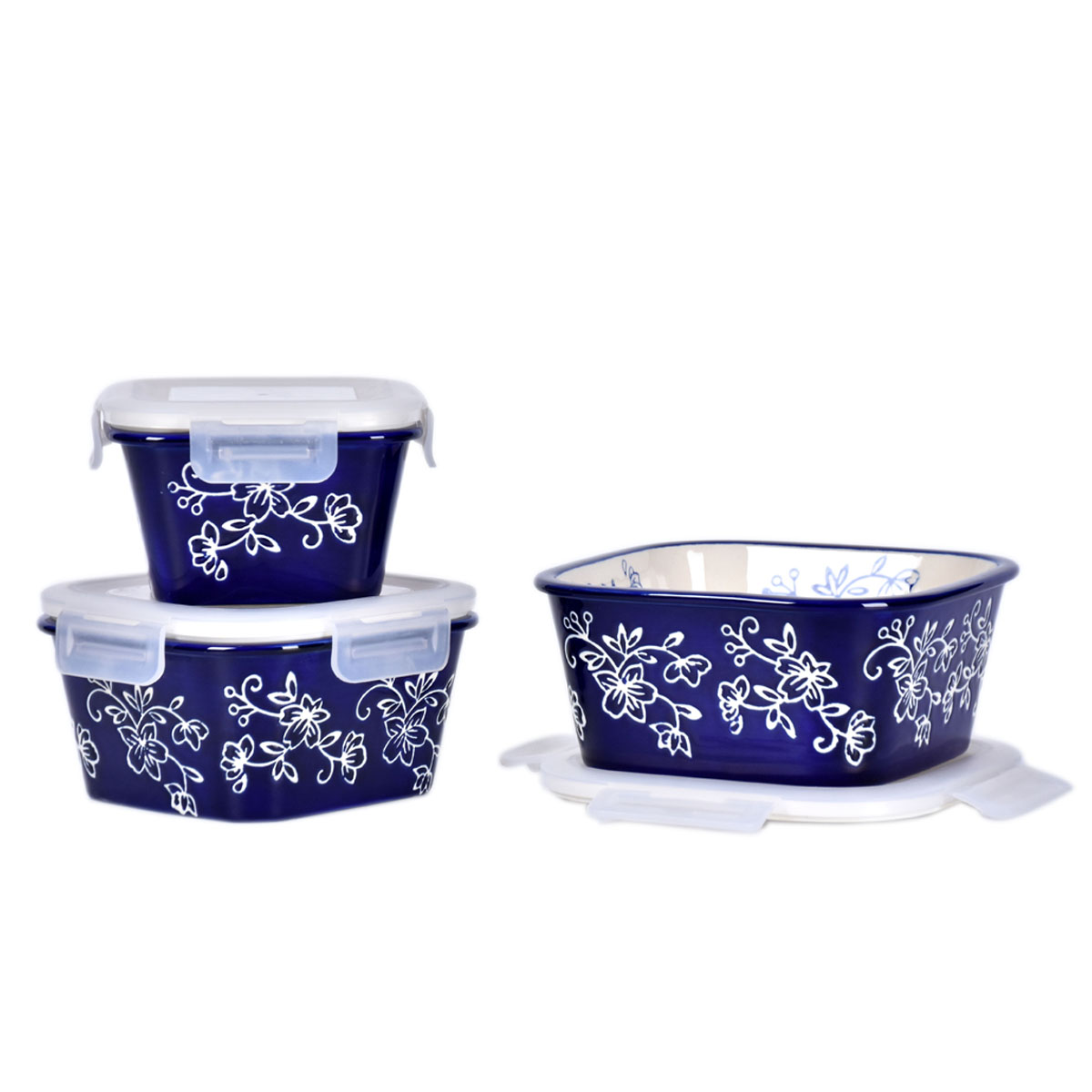 temp-tations® Floral Lace Nesting Square Ceramic Containers with Lid – 3 Piece – Blue
