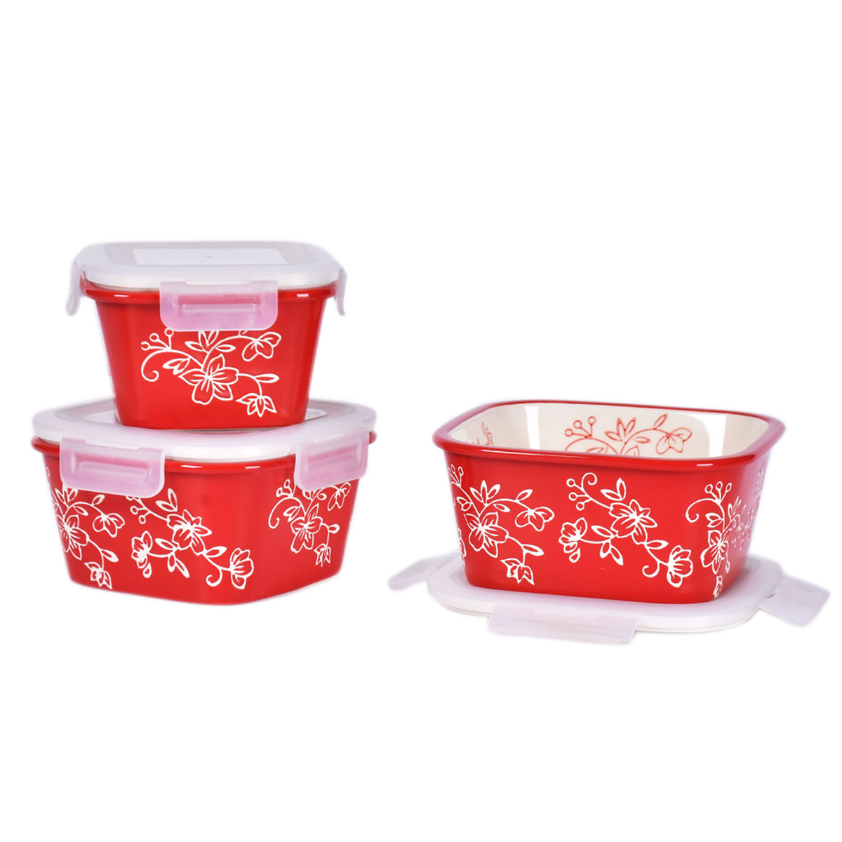 temp-tations® Floral Lace Nesting Square Ceramic Containers with Lid – 3 Piece – Red
