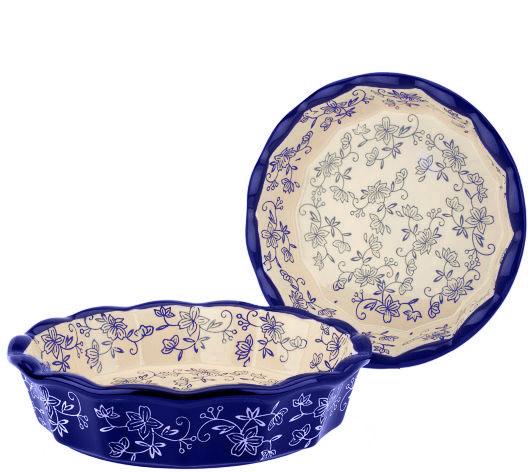 temp-tations® Floral Lace Pie Bakeware Set – 2 Piece – Blue